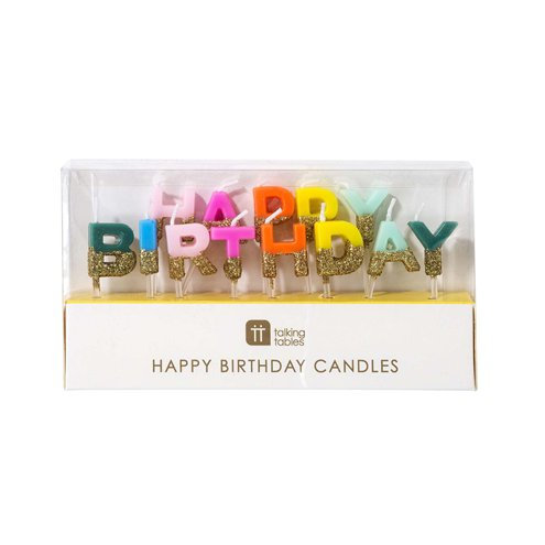 Happy Birthday candles with glitter