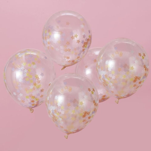 Pastel Star Shaped Confetti Balloons