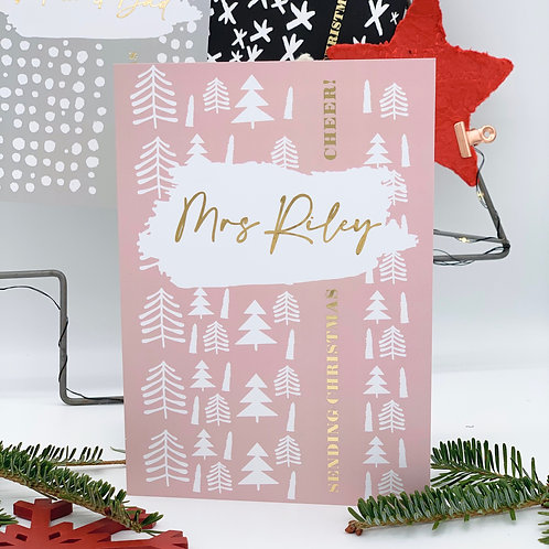 Nordic Trees - Personalised Christmas Card