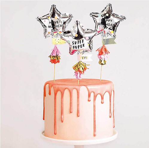 YEY! Let's party Foil Ballon Cake Toppers