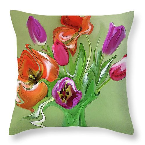 Abstract multi-colored tulip pillow by Suzy 2.0
