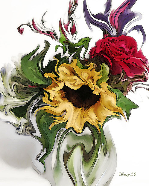 Abstract sunflower and red rose bouquet giclee print by Suzy 2.0