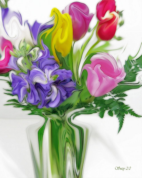 Abstract spring-colored floral bouquet Giclee Print by Suzy 2.0