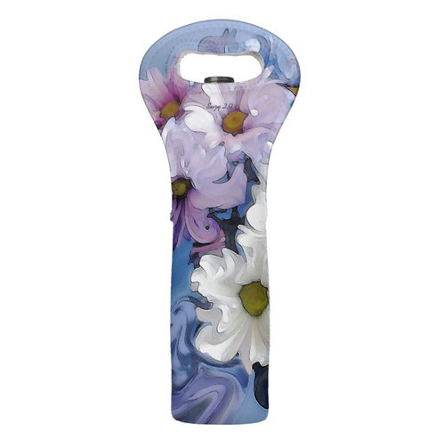 blue abstract daisy wine tote by Suzy 2.0