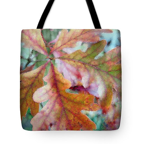 abstract fall-colored oak leaf tote bag by Suzy 2.0