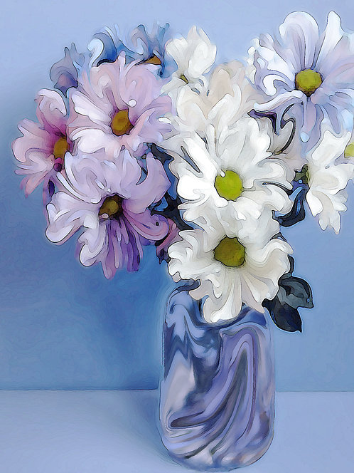 Abstract purple, white and pink daisy bouquet Giclee Print by Suzy 2.0