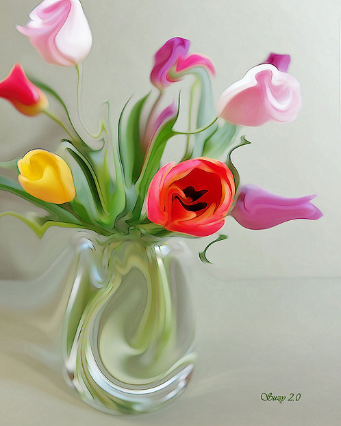 Colorful abstract tulip bouquet giclee print by Suzy 2.0