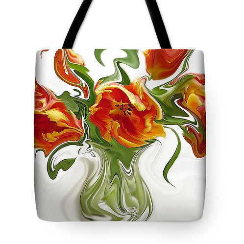 abstract orange tulip tote bag by Suzy 2.0