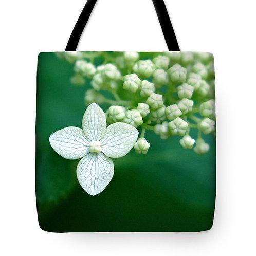single white Hydrangea bloom tote bag by Suzy 2.0