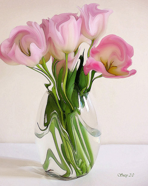 Pale pink tulips on a light background fine art print by Suzy 2.0