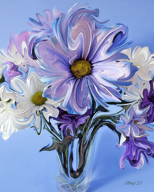 Purple, blue and white daisies on blue background fine art print by Suzy 2.0