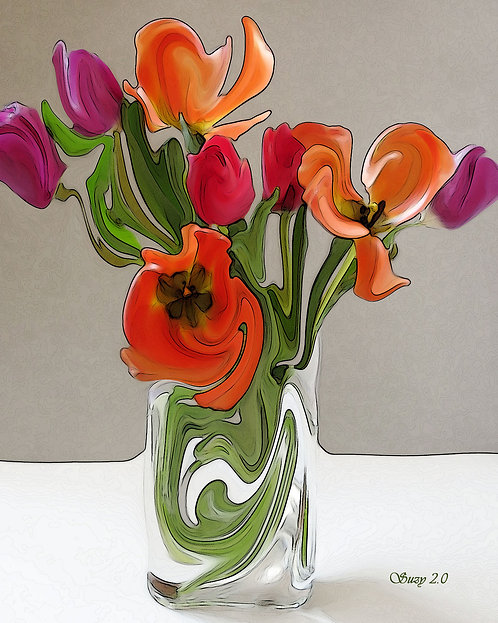 Abstract red, orange and purple tulip bouquet giclee print by Suzy 2.0