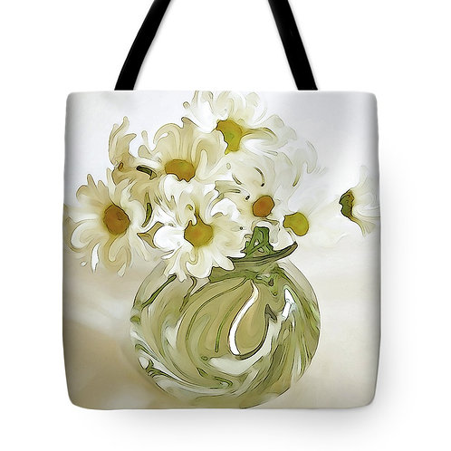 Abstract white daisy tote by Suzy 2.0