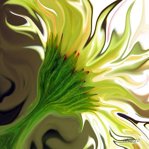 Abstract yellow Gerbera daisy fine art print by Suzy 2.0