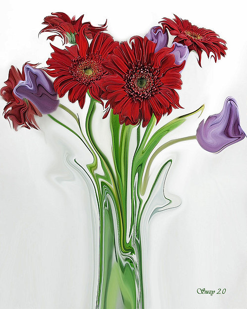Abstract Red Gerbera Daisy And Purple Tulip Bouquet Giclee Print by Suzy 2.0