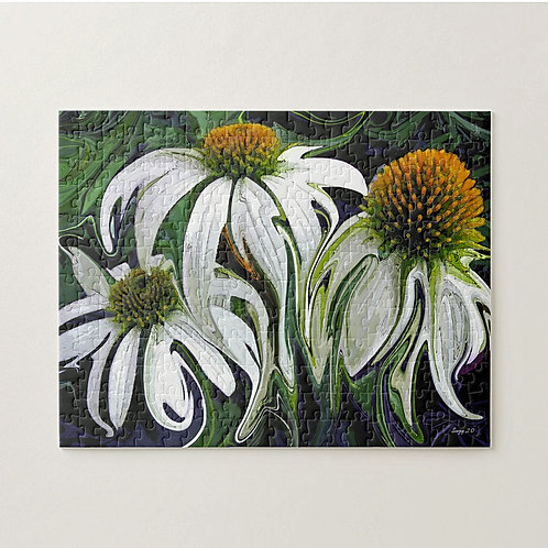 Abstract white coneflower puzzle by Suzy 2.0