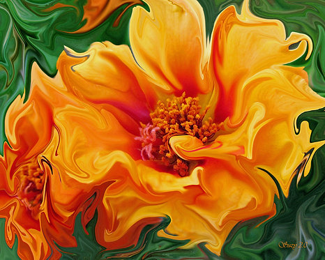 Abstract orange moss rose fine art print by Suzy 2.0