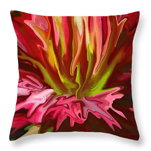 Abstract red day lily pillow by Suzy 2.0