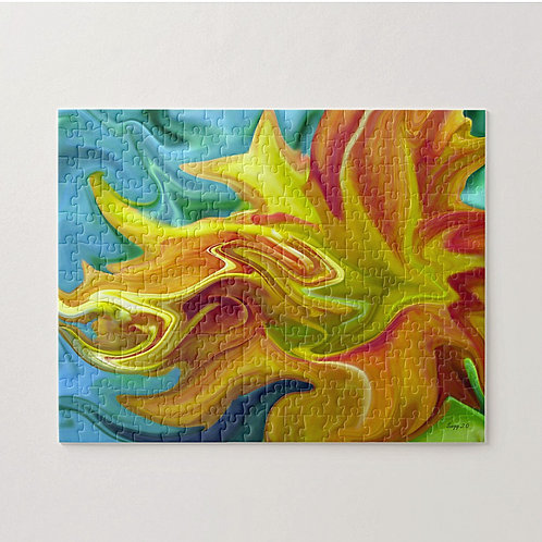 Abstract yellow and orange day lily puzzle by Suzy 2.0