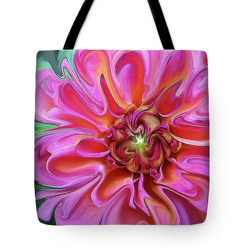Abstract pink Dahlia tote bag by Suzy 2.0