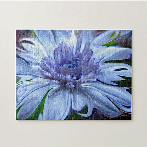 Abstract blue daisy puzzle by Suzy 2.0