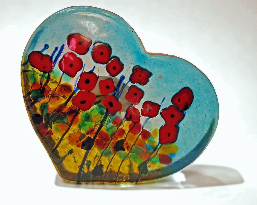 Art Glass Heart from Butchart Gardens, Suzy 2.0