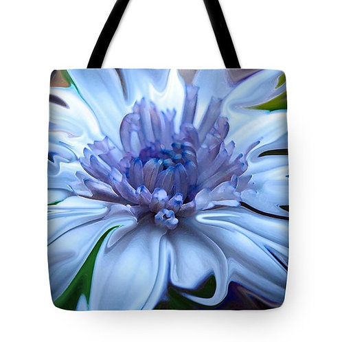 abstract blue daisy tote bag by Suzy 2.0