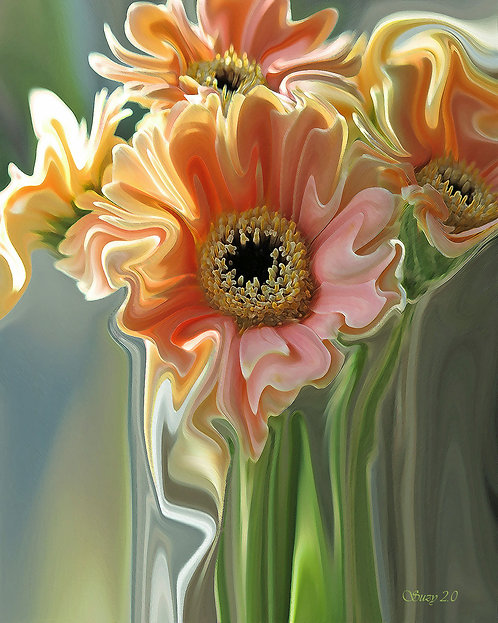 Abstract pale orange Gerbera daisies with green blue background fine art print by Suzy 2.0