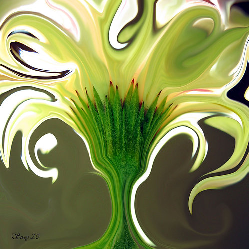 Abstract yellow Gerbera daisy fine art print by Suzy 2.0