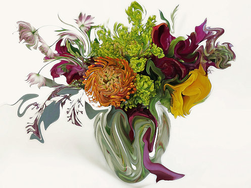 Abstract fall flower bouquet Giclee Print by Suzy 2.0