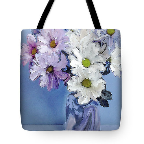 abstract purple, pink and white daisy tote by Suzy 2.0