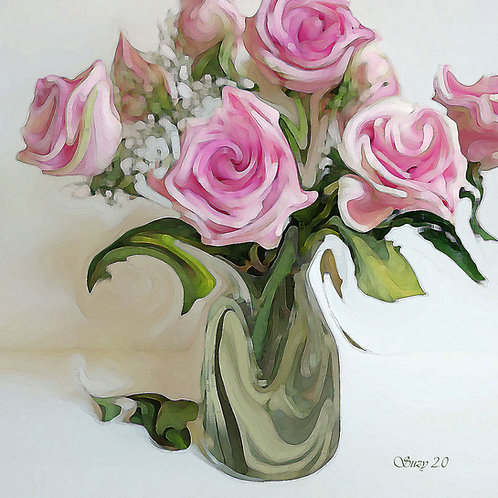 Abstract pink rose bouquet Giclee Print by Suzy 2.0