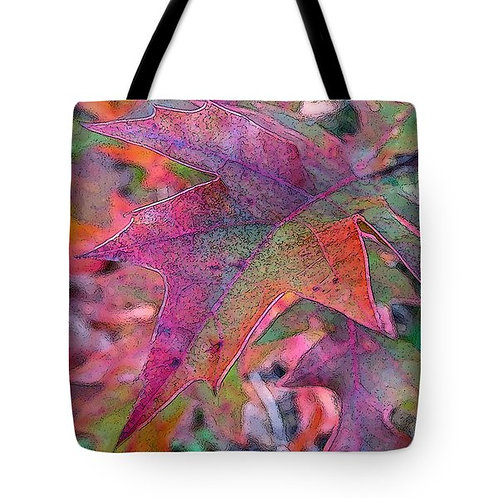 abstract fall-colored maple leaf tote bag by Suzy 2.0