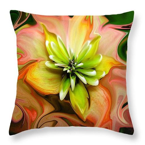 An abstract orange and green succulent pillow by Suzy 2.0