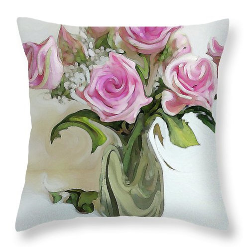 Abstract pink rose bouquet pillow by Suzy 2.0