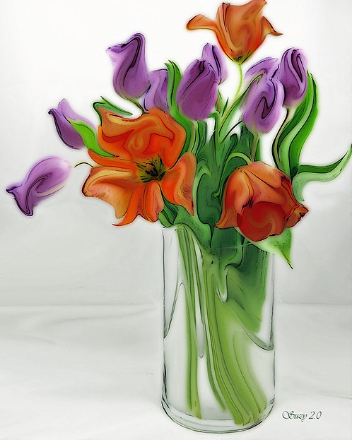 Abstract orange and purple tulip bouquet Giclee Print by Suzy 2.0