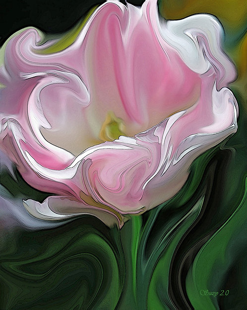 Abstract pink tulip fine art print by Suzy 2.0