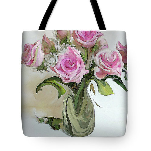 Abstract pink rose bouquet tote bag by Suzy 2.0