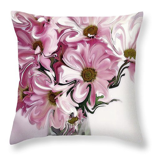 Abstract pink daisy pillow by Suzy 2.0