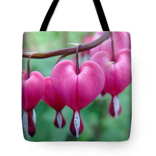 pink bleeding heart tote bag by Suzy 2.0