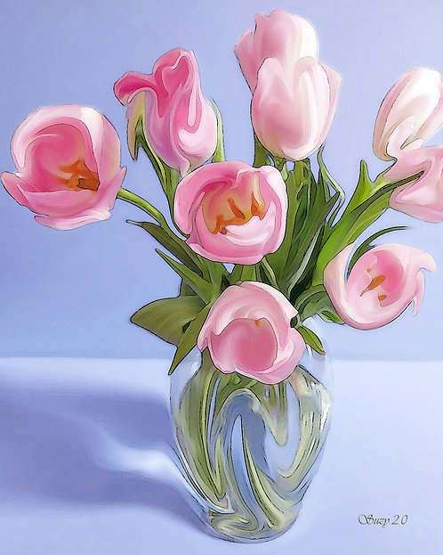 Pale pink tulips on light purple background fine art print by Suzy 2.0