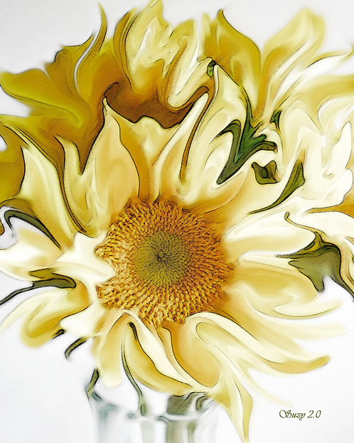 Abstract yellow sunflower bouquet giclee print by Suzy 2.0