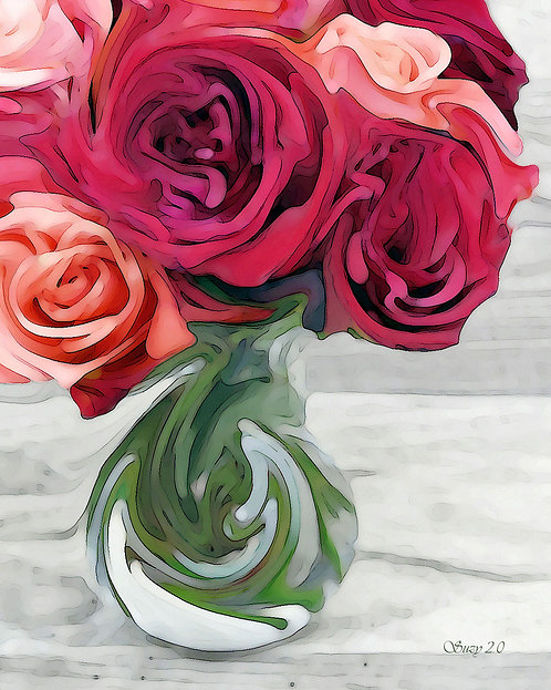 Abstract red & coral rose bouquet Giclee Print by Suzy 2.0