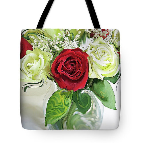 Abstract red and white rose tote by Suzy 2.0