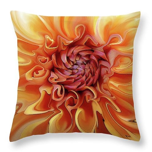 Abstract orange Dahlia pillow by Suzy 2.0
