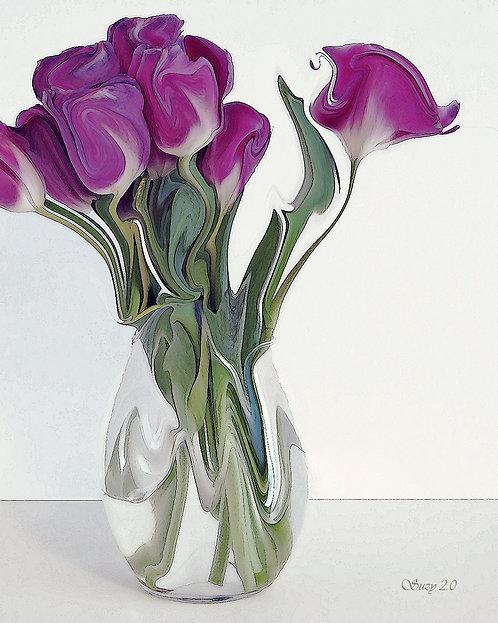 Purple tulips on a light background fine art print by Suzy 2.0