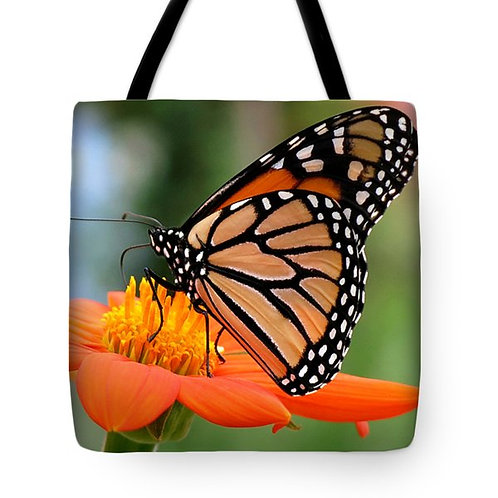 Monarch butterfly and orange Zinnia tote bag by Suzy 2.0
