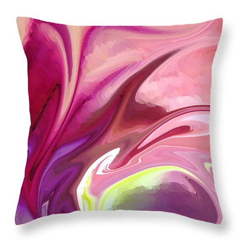 Pink and green abstract pillow by Suzy 2.0