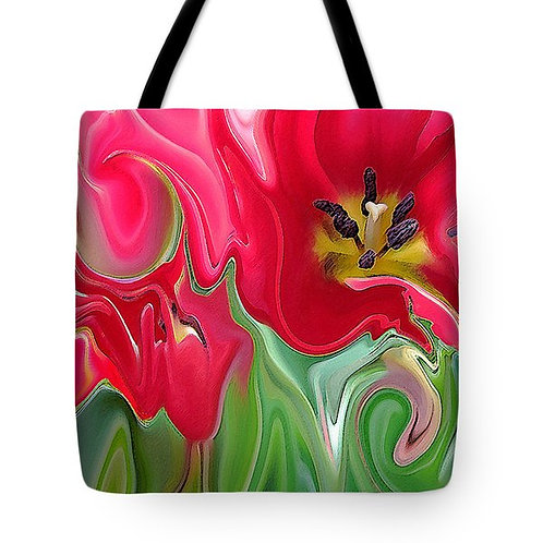 abstract pink tulip tote bag by Suzy 2.0