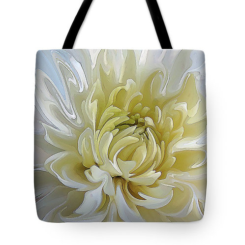 Abstract white Chrysanthemum tote bag by Suzy 2.0